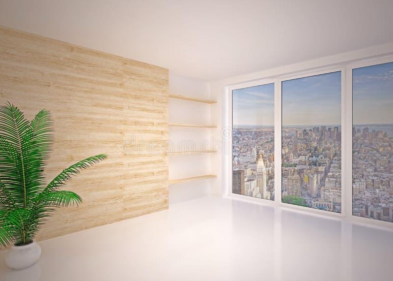 Пустая современная внутренняя живущая комната, салон стоковые фотографии rf