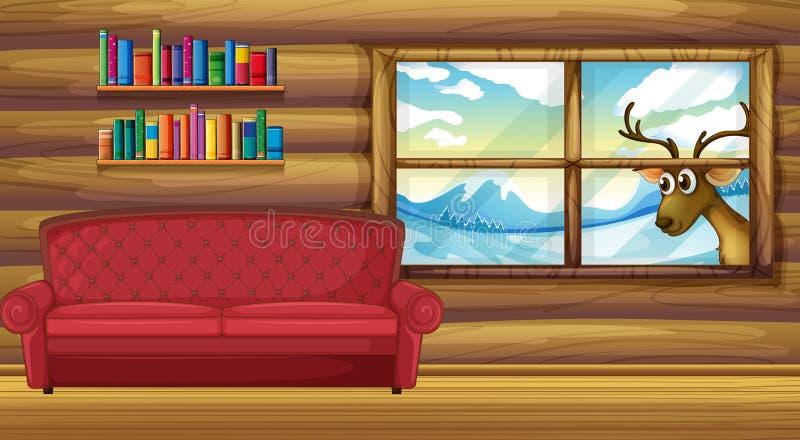 Пустая софа с книжными полками на задней части иллюстрация штока
