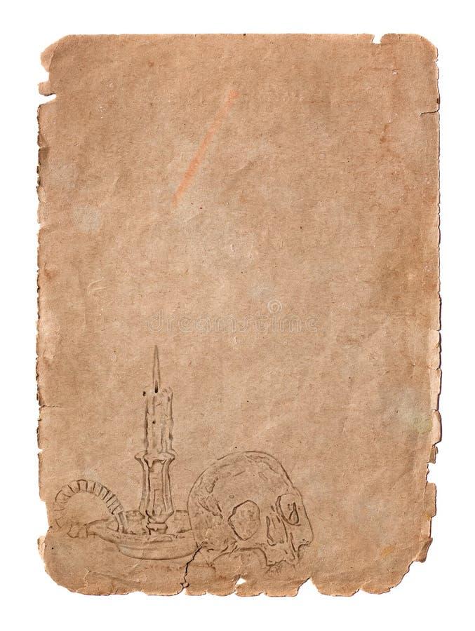 Пустая старая свеча черепа страницы стоковое фото rf