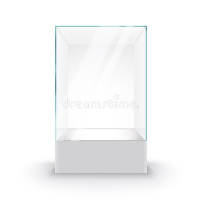 Пустая стеклянная витрина на постаменте Коробка музея стеклянная изолировала рекламу или бутик дизайна дела иллюстрация вектора