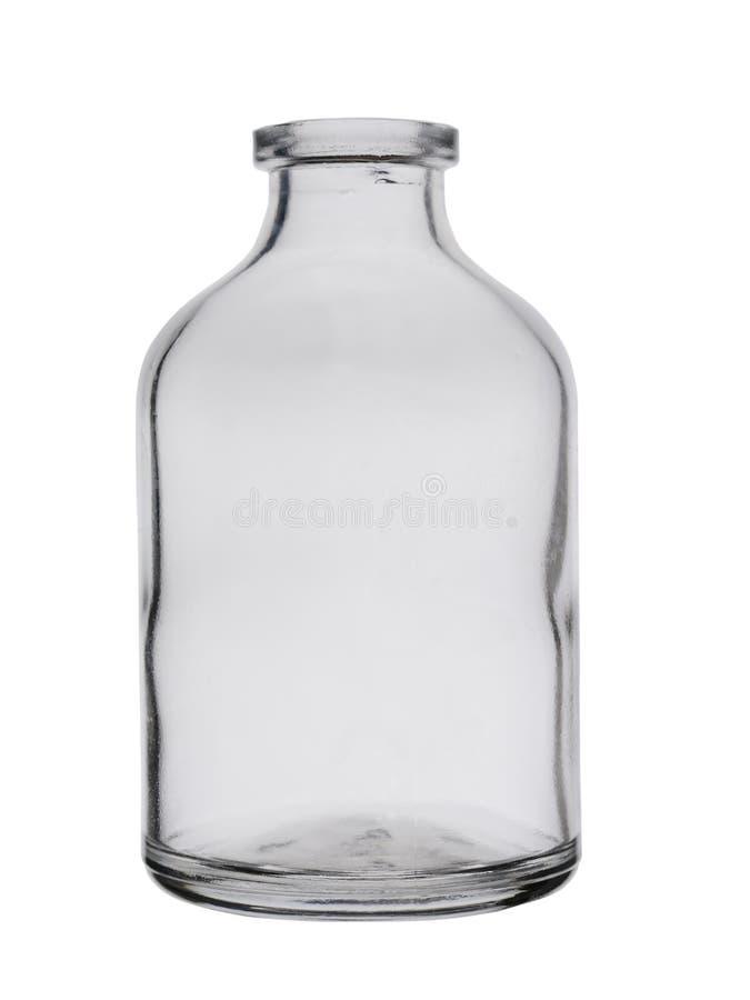 Пустая стеклянная небольшая бутылка для лекарств изолированных на белой предпосылке стоковые фото