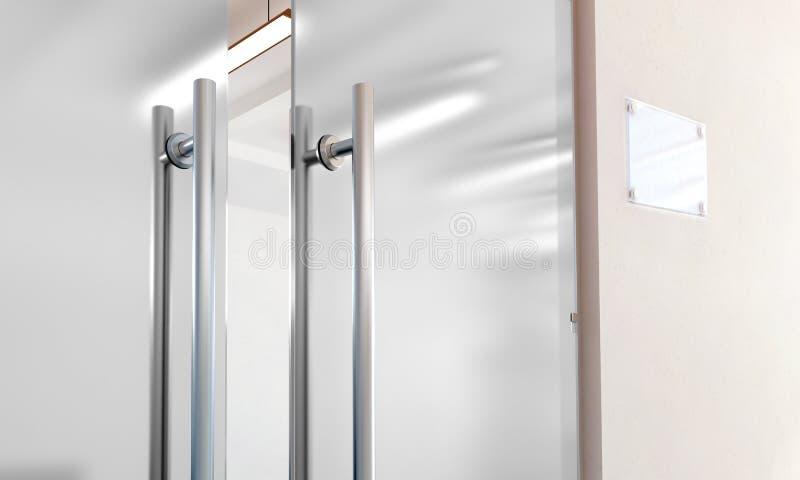 Пустая стеклянная дверь с металлом регулирует модель-макет иллюстрация штока