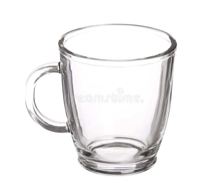 Пустая стеклянная чашка чаю при изолированная ручка стоковое изображение