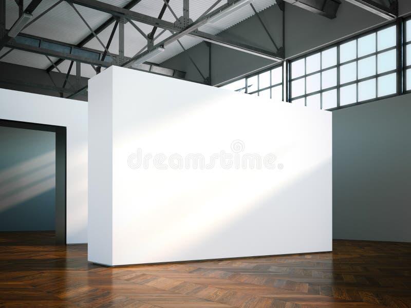 Пустая стена в современном музее перевод 3d стоковое изображение rf