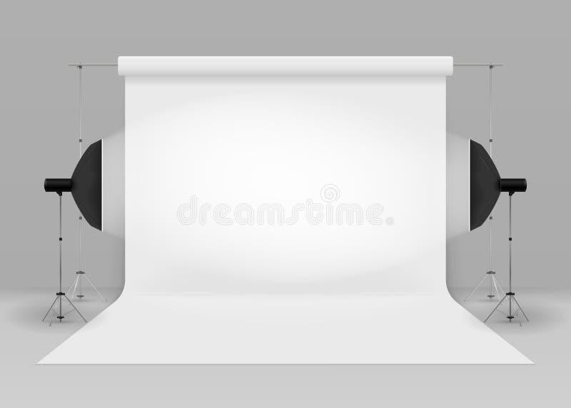 Пустая студия фото с оборудованием освещения иллюстрация вектора