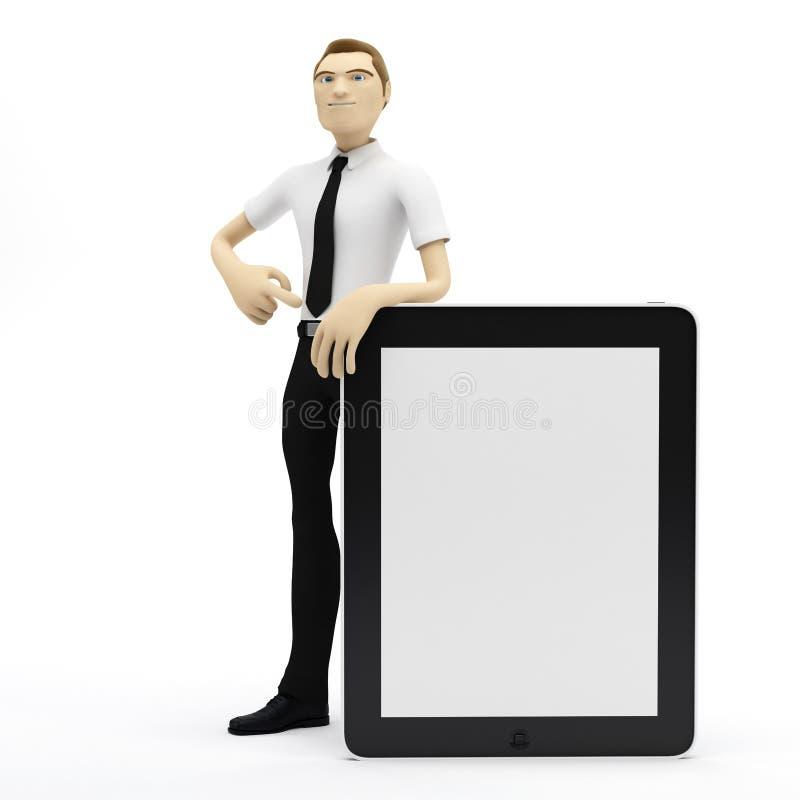 пустая таблетка ПК бизнесмена 3d иллюстрация штока