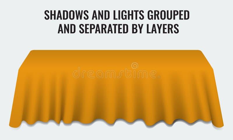 Пустая таблица банкета обедающего с оранжевым столом ткани 3d реалистическим иллюстрация вектора
