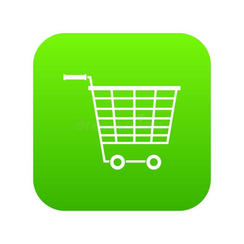 Пустая тележка супермаркета с пластмассой регулирует зеленый цвет значка цифровой бесплатная иллюстрация