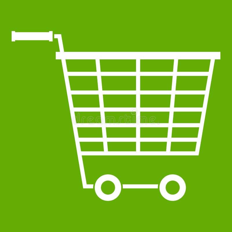 Пустая тележка супермаркета с пластмассой регулирует зеленый цвет значка иллюстрация вектора