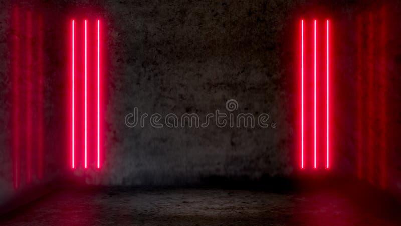 Пустая темная абстрактная комната с красными дневными неоновыми светами иллюстрация штока