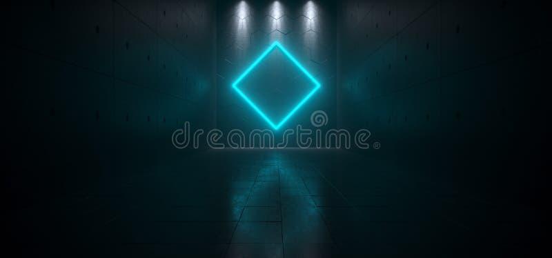 Пустая темная футуристическая комната Sci Fi большая Hall с светами и Rombu иллюстрация вектора