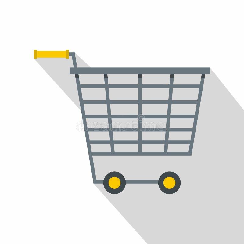 Пустая тележка супермаркета с желтым цветом регулирует значок иллюстрация вектора