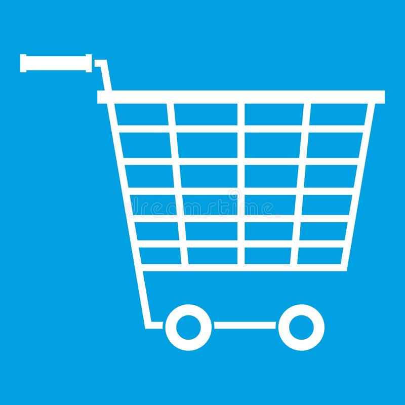 Пустая тележка супермаркета с пластмассой регулирует значок иллюстрация штока