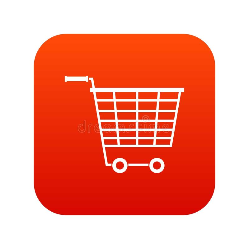 Пустая тележка супермаркета с пластмассой регулирует красный цвет значка цифровой иллюстрация вектора