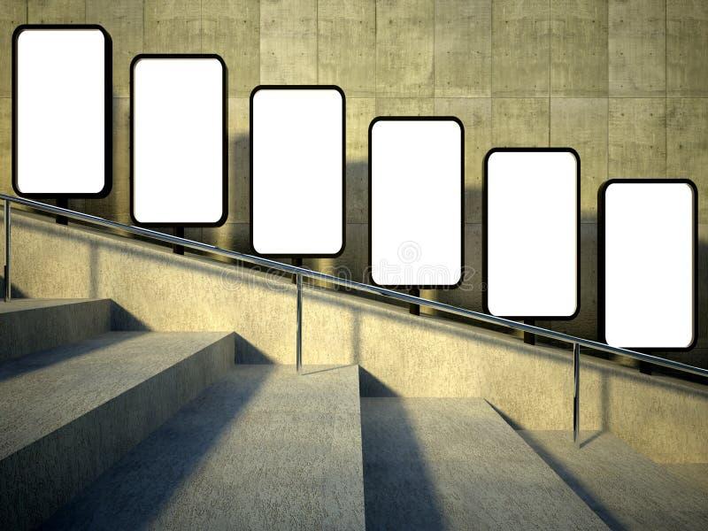 пустая улица 3d рекламируя афишу, лестницы бесплатная иллюстрация