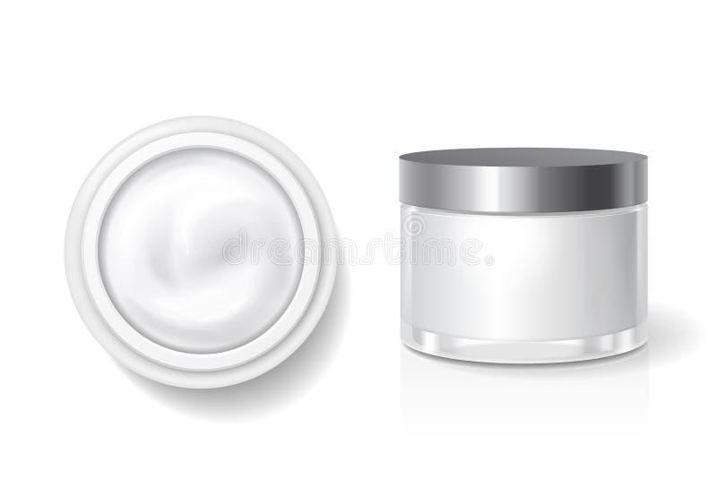 Пустая упаковка сливк, масла для заботы кожи, белого косметического опарника с серебряным шаблоном вектора крышки Верхняя часть и иллюстрация вектора