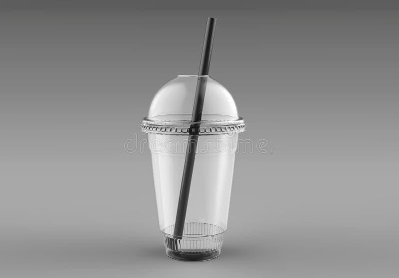 Пустая пустая устранимая пластичная чашка Milkshake с крышкой прозрачно Контейнер для холодного, горячего питья Сок свежий, кофе, бесплатная иллюстрация