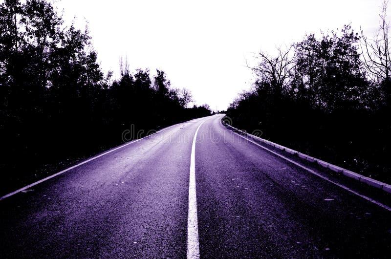 Пустая фиолетовая дорога стоковые фотографии rf