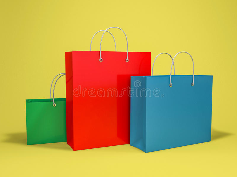 Пустая хозяйственная сумка для рекламировать и затаврить иллюстрация штока