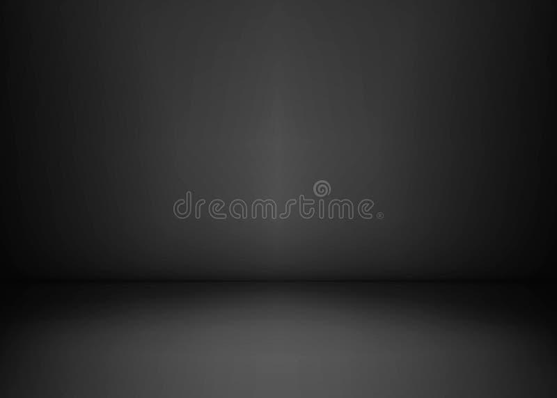 Пустая черная комната студии Темная предпосылка Абстрактная темная пустая текстура комнаты студии также вектор иллюстрации притяж иллюстрация штока
