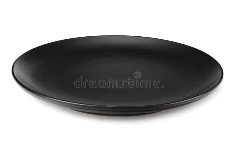 пустая черная круглая плита изолированная на белой предпосылке стоковое фото