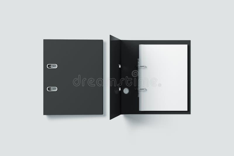 Пустая черная насмешка дизайна папки связывателя кольца вверх по взгляд сверху стоковое фото rf