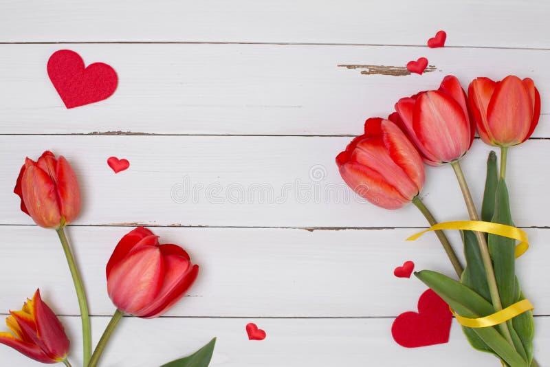 Пустая чистая белая деревянная доска с красными тюльпанами и сердцами Взгляд сверху стоковые фотографии rf
