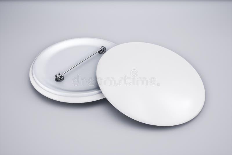 Пустая ясная насмешка эмблемы штыря вверх Пустой белый модель-макет значка кнопки, иллюстрация вектора
