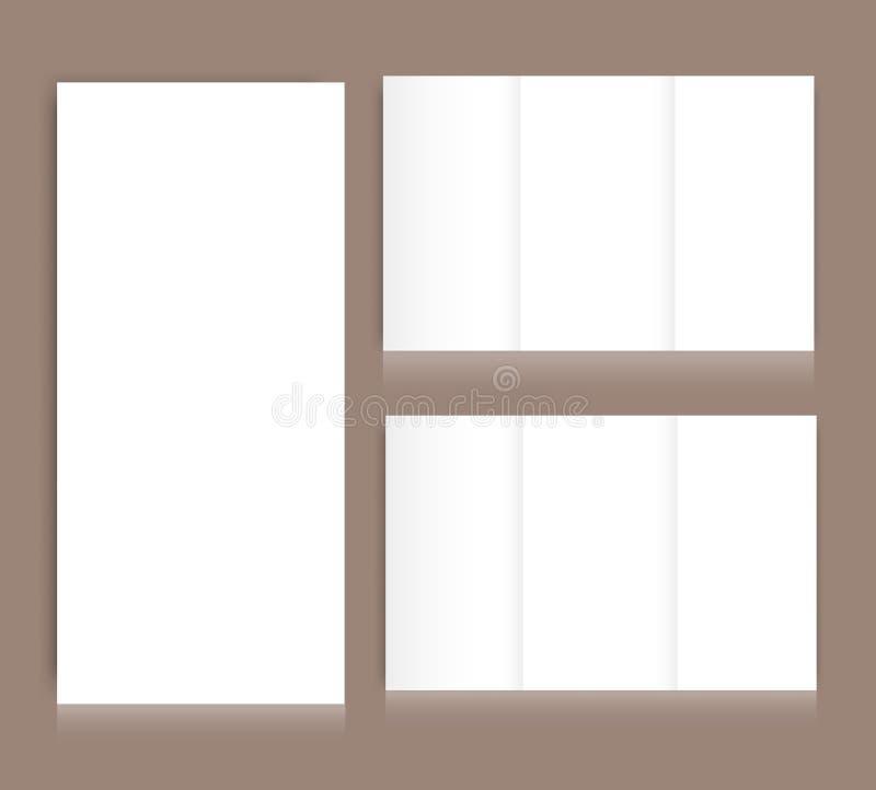 Пустая trifold насмешка брошюры вверх по крышке портрета изолировано иллюстрация вектора