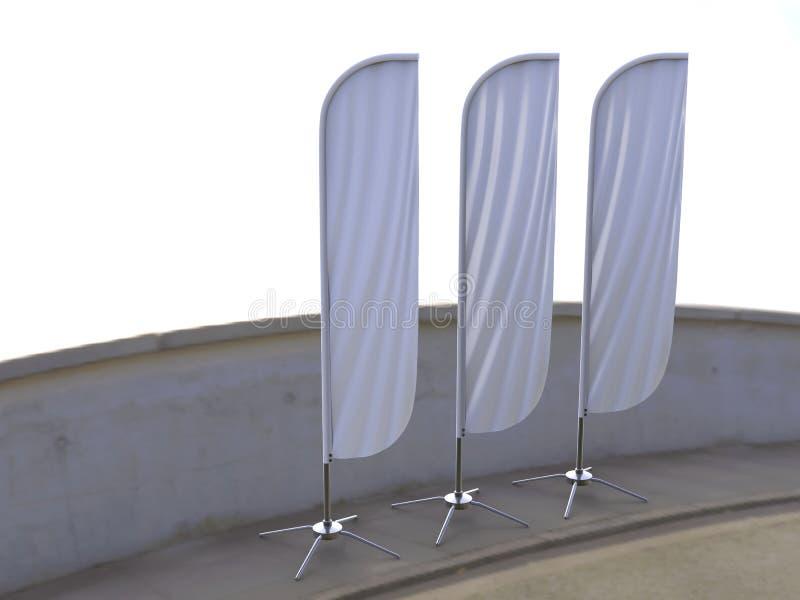 Пустое белое знамя флага пляжа экрана внешней рекламы флага смычка convax или вертикальная насмешка знамени ветра вверх по шаблон иллюстрация вектора