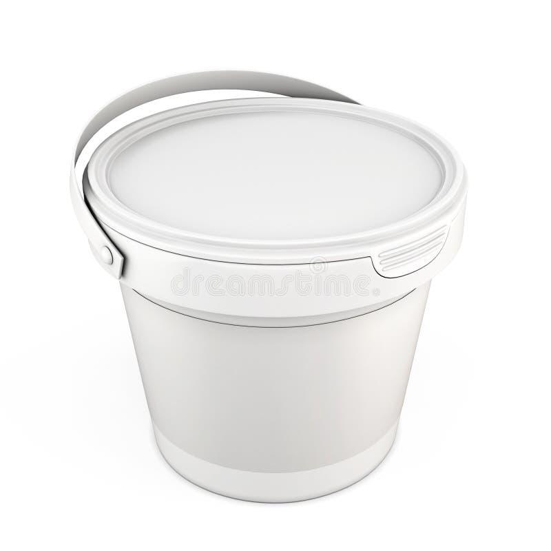 Пустое белое пластичное ведро для замазки иллюстрация вектора