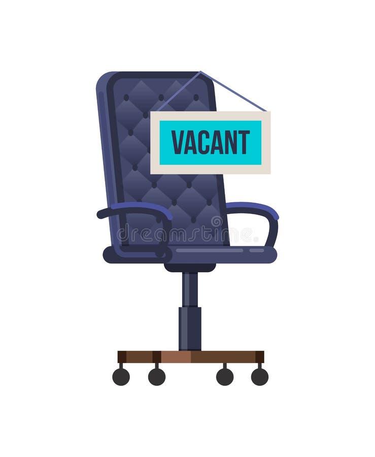 Пустое вакантное рабочее место для штата со стулом офиса иллюстрация штока