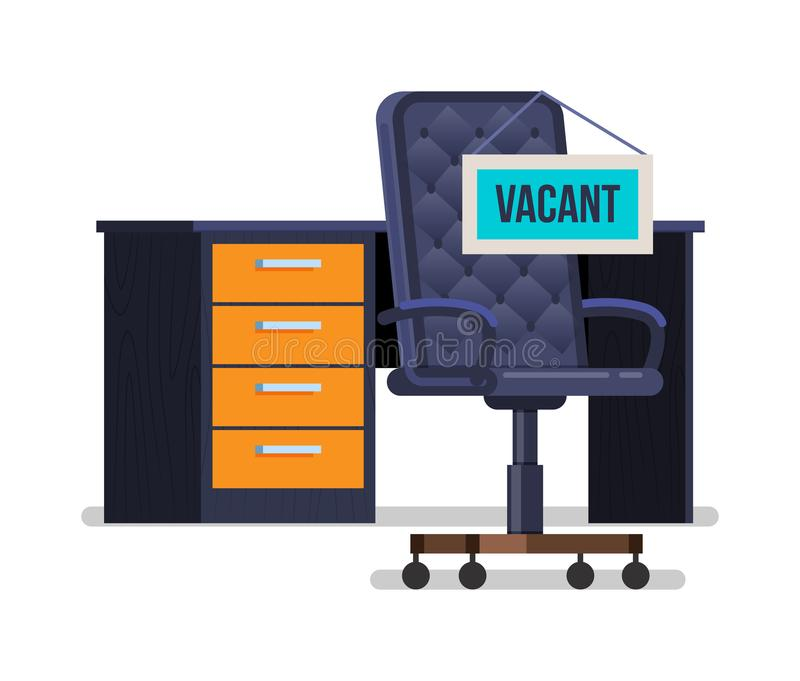 Пустое вакантное рабочее место с таблицей для штата со стулом офиса иллюстрация вектора