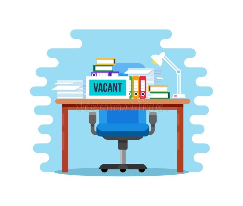 Пустое вакантное рабочее место с таблицей для штата со стулом офиса бесплатная иллюстрация