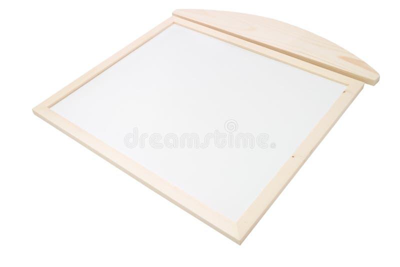 Пустое деревянное Whiteboard изолированное на белой предпосылке стоковое фото rf