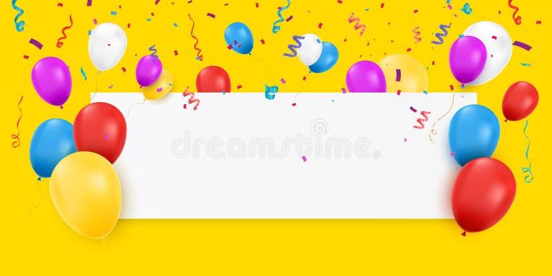 Пустое знамя с воздушными шарами бесплатная иллюстрация