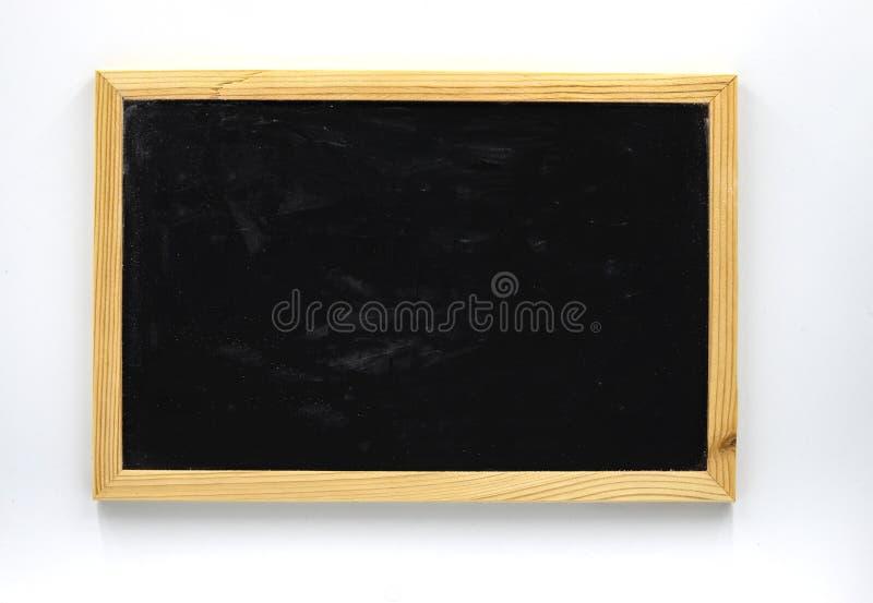 Пустое классн классный в квартире деревянной рамки кладет фото на белую предпосылку Доска с местом текста на белизне стоковое фото