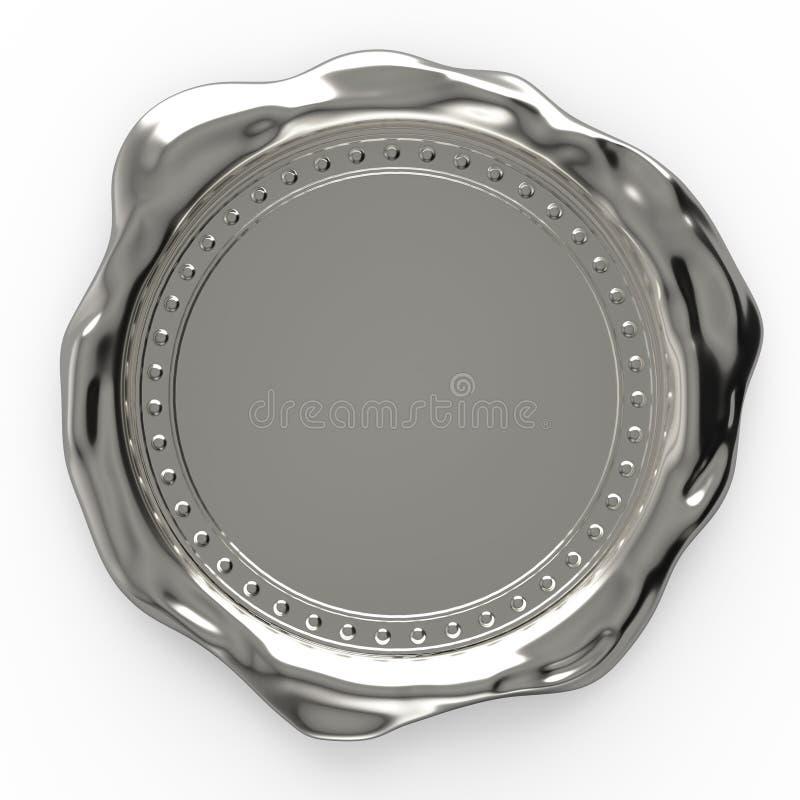 Пустое серебряное уплотнение воска изолированное на белой предпосылке - переводе 3D стоковая фотография rf