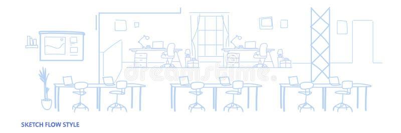 Пустое со-работая окружающей среды рабочего места центра открытого пространства офиса внутреннее современное coworking знамя твор иллюстрация штока