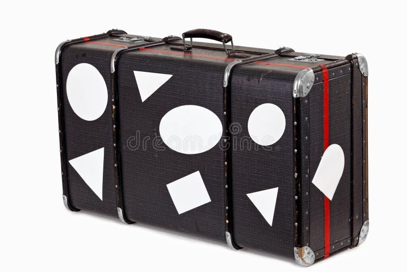 пустое старое используемое перемещение чемодана стикеров стоковое фото rf