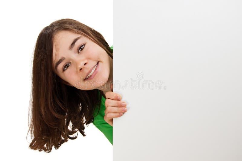 пустое удерживание девушки доски стоковые фотографии rf