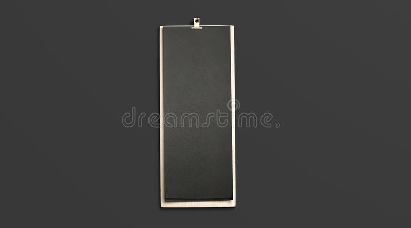 Пустое черное меню кафа, насмешка деревянной доски вверх, взгляд сверху стоковое изображение