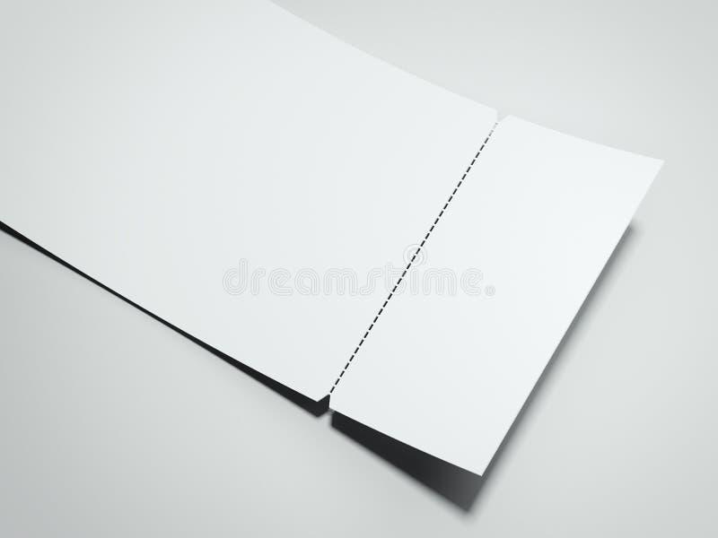 Пустой белый билет разрыва- перевод 3d иллюстрация вектора