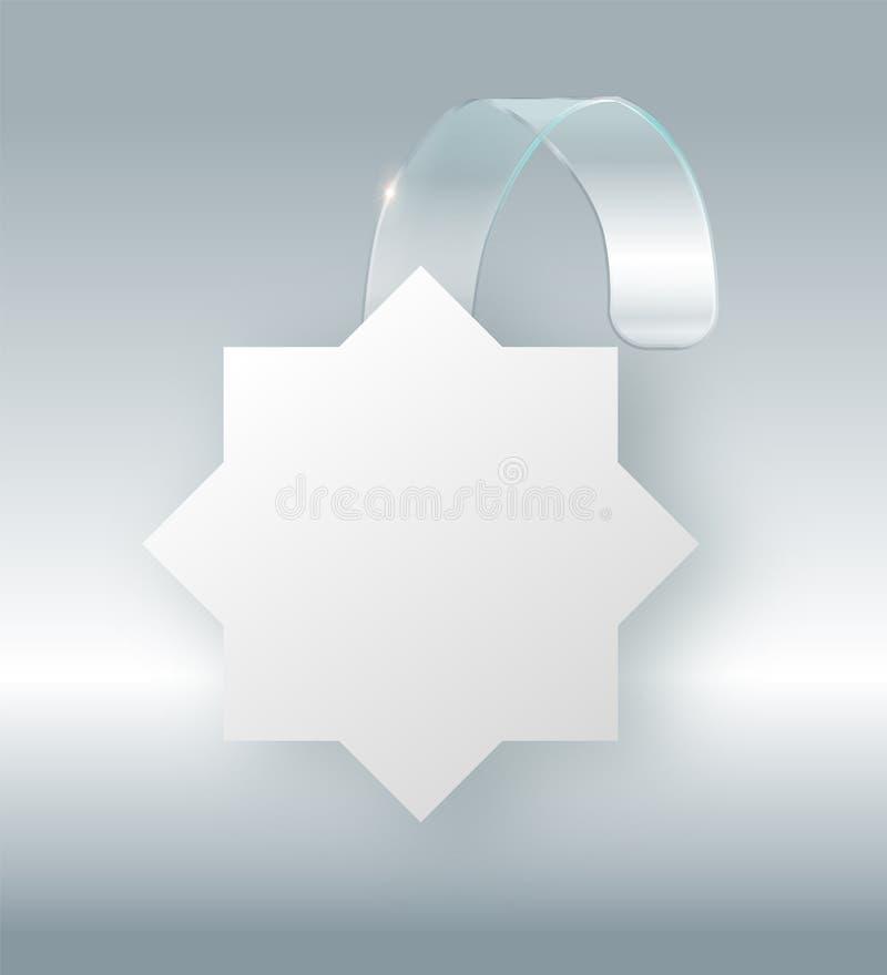 Пустой белый вид wobbler на насмешке стены вверх, перевод 3d Разметьте вокруг бумажного модель-макета на пластичной прозрачной пр бесплатная иллюстрация