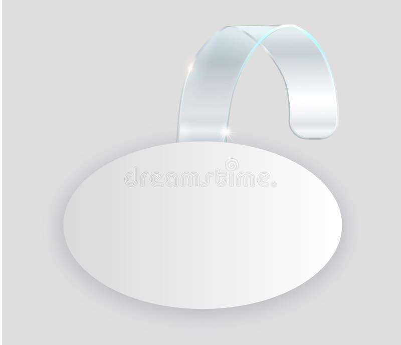 Пустой белый вид wobbler на насмешке стены вверх, перевод 3d Разметьте вокруг бумажного модель-макета на пластичной прозрачной пр иллюстрация штока