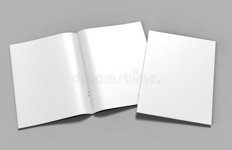 Пустой белый каталог, кассеты, дизайн насмешки книги поднимающий вверх на серой предпосылке иллюстрация вектора