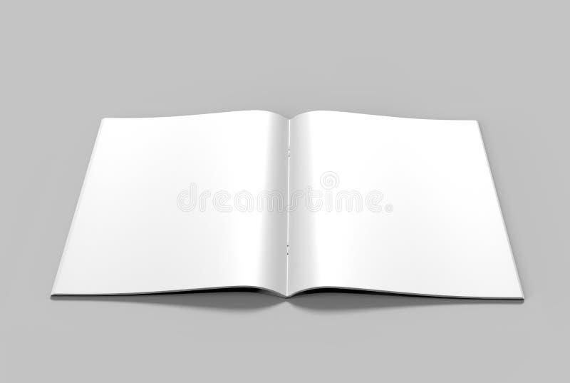 Пустой белый каталог, кассеты, дизайн насмешки книги поднимающий вверх на серой предпосылке иллюстрация штока