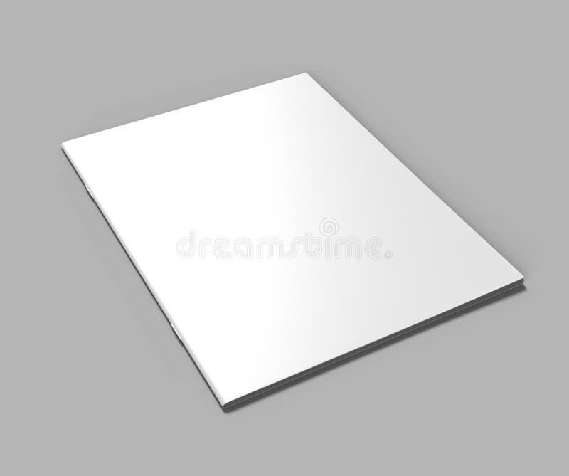 Пустой белый каталог, кассеты, насмешка книги вверх на серой предпосылке иллюстрация 3d представляет иллюстрация вектора