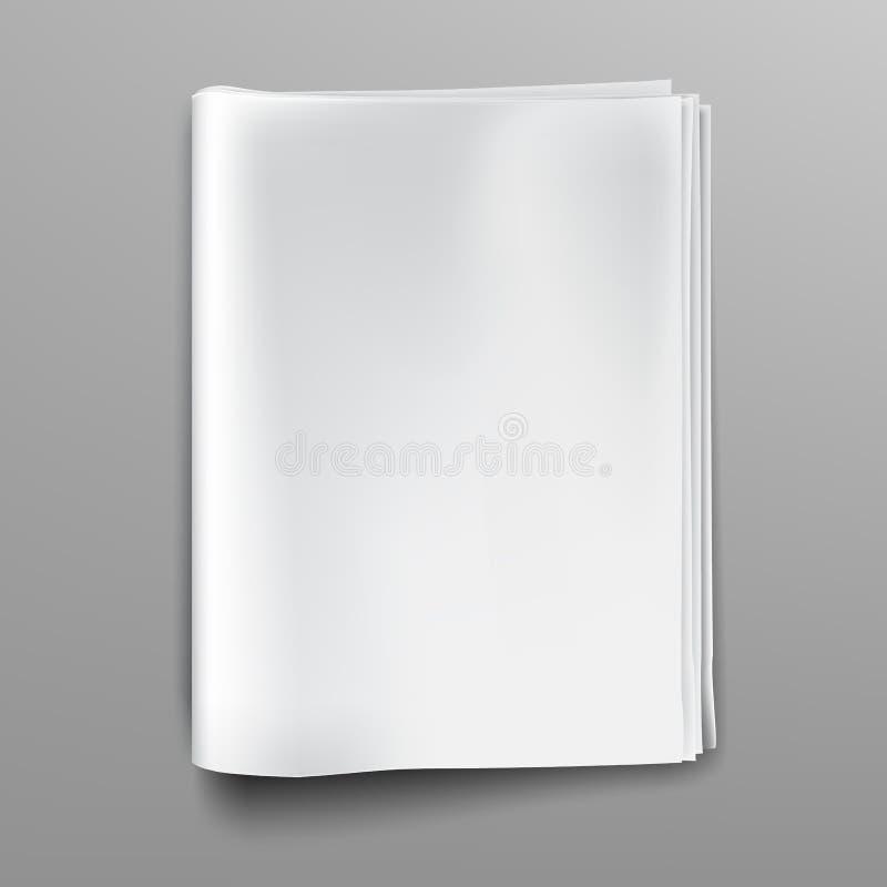 Пустой, пустой, белый модель-макет кассеты газеты, титульный лист иллюстрация штока
