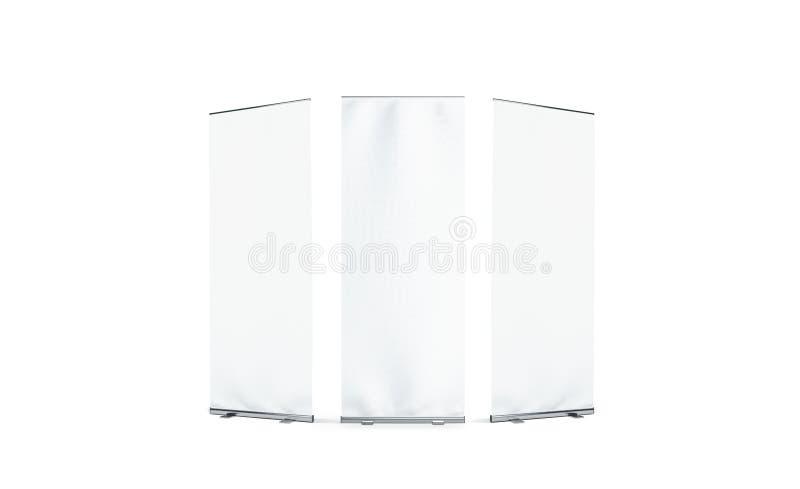 Пустой белый модель-макет фронта, левых и правильной позиции знамени крена-вверх иллюстрация вектора